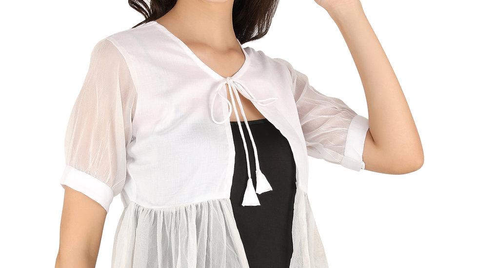 UNFAKENOW  Women Jacket Style Short Sleeve White Shrug