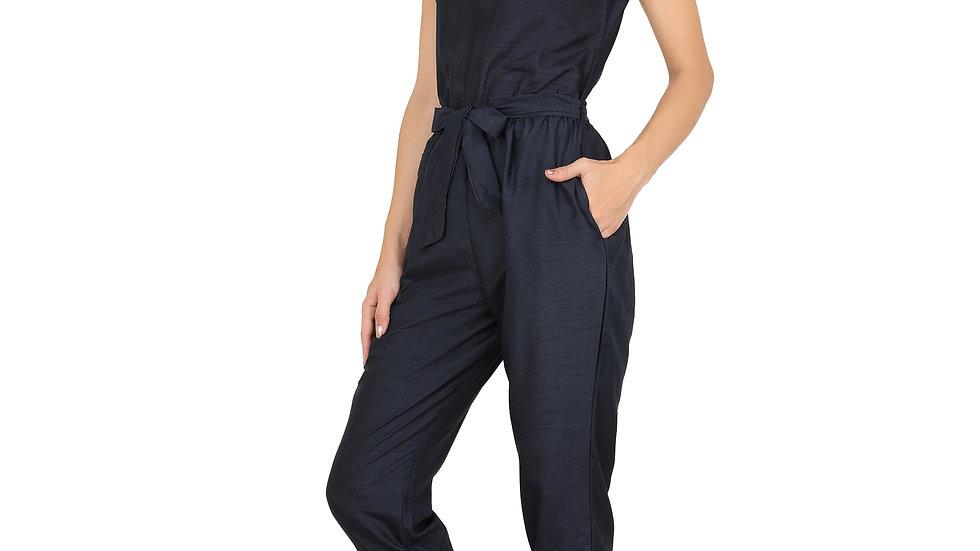 UNFAKENOW  Solid Navy Blue Women Cotton Jumpsuit