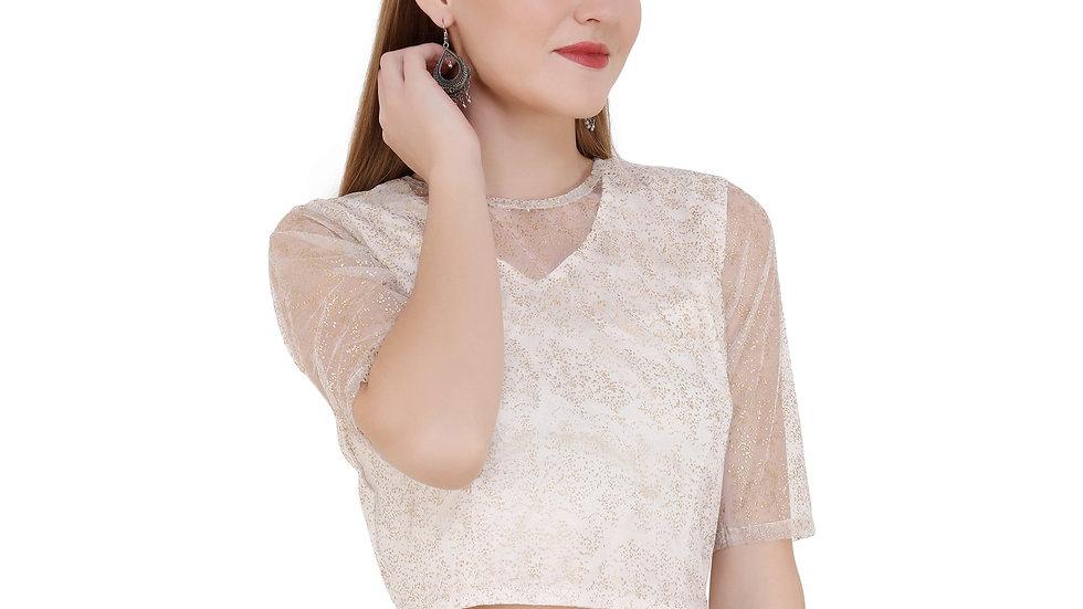 UNFAKENOW  Party Half Sleeve Embellished Women White Top