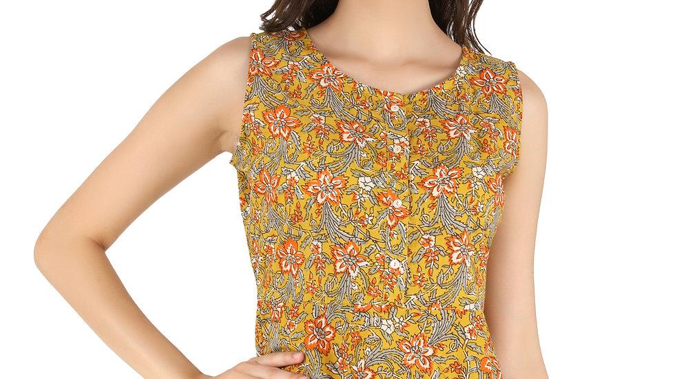 UNFAKENOW  Casual No Sleeve Floral Print Women Brown Top