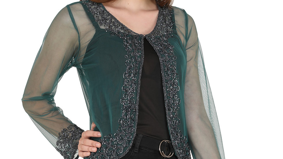 UNFAKENOW  Women Jacket Style Full Sleeve Dark Green Shrug