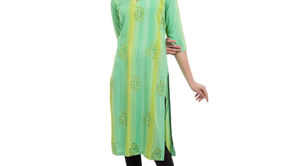 UNFAKENOW  Women Embroidered Cotton Blend Straight Light Green Kurta