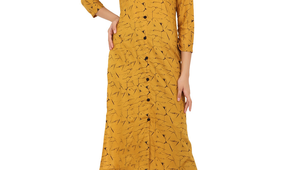 UNFAKENOW  Women Printed Rayon Straight Kurta  (Yellow)