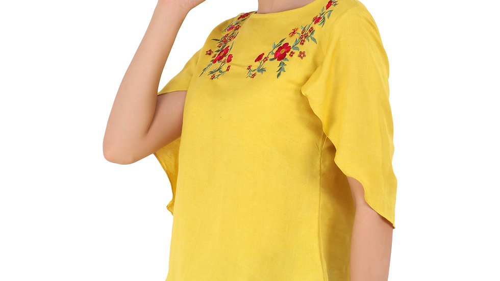 UNFAKENOW  Casual Flared Sleeve Embroidered Women Yellow Top
