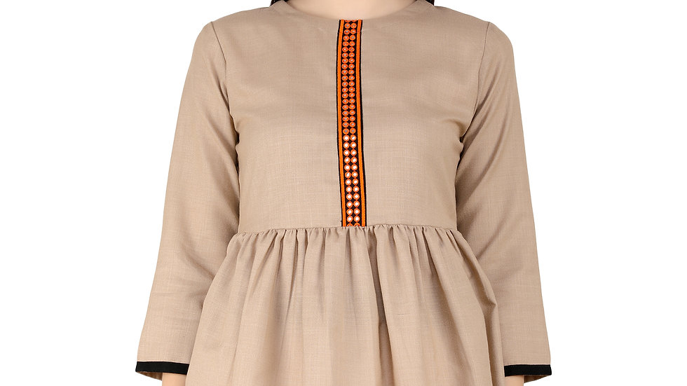 UNFAKENOW  Casual Cuffed Sleeve Embroidered Women Beige Top