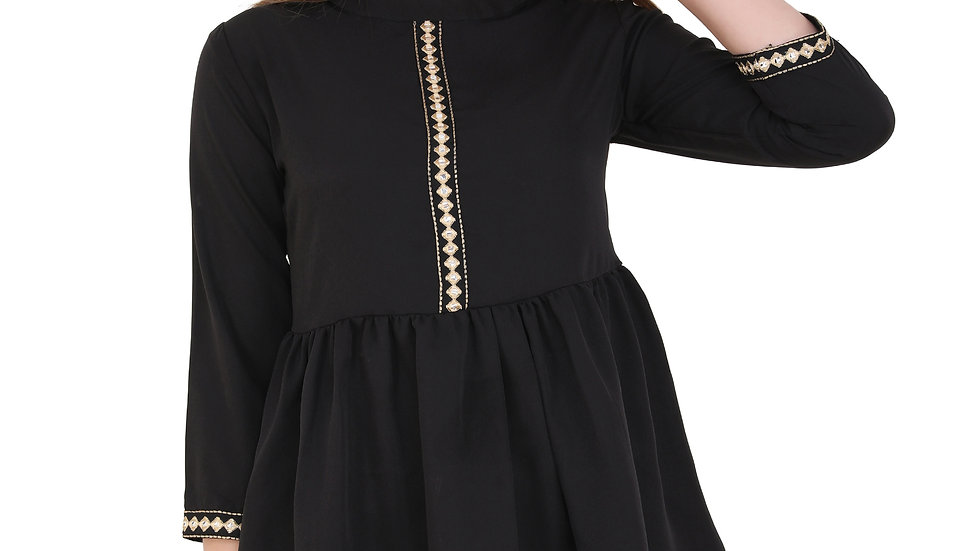UNFAKENOW  Casual 3/4 Sleeve Embroidered Women Black Top