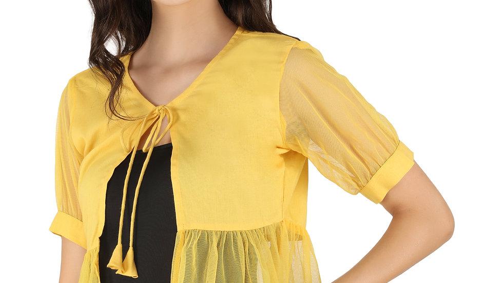 UNFAKENOW  Women Jacket Style Short Sleeve Yellow Shrug