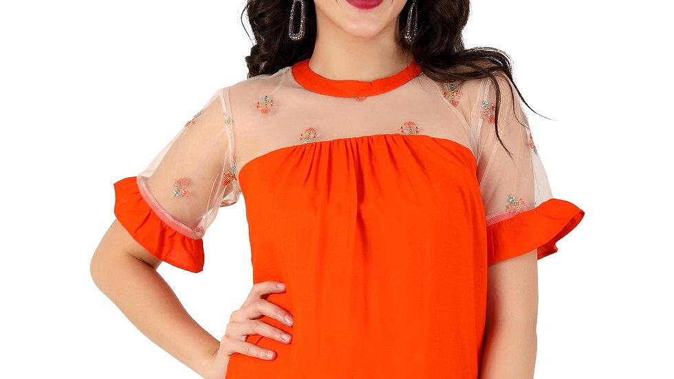 UNFAKENOW  Casual Short Sleeve Embroidered Women Orange Top