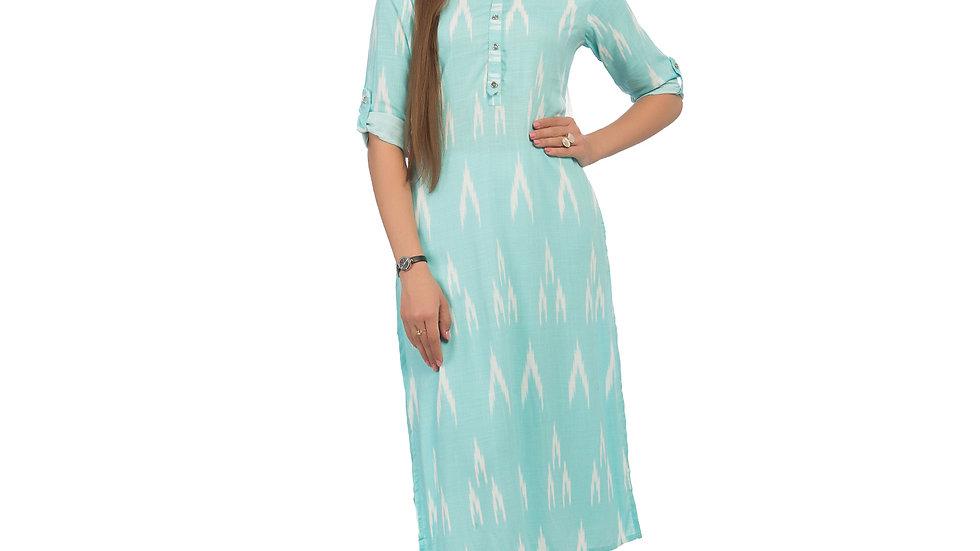 UNFAKENOW  Women Printed Cotton Blend Straight Light blue Kurta