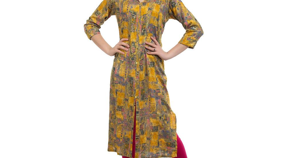UNFAKENOW  Women Textured Cotton Blend Straight Yellow Kurta