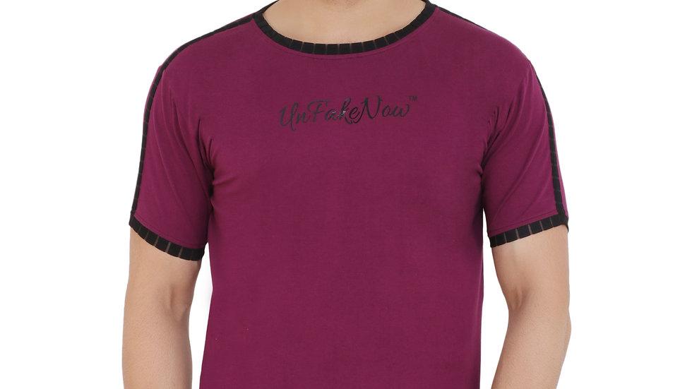 UNFAKENOW  Typography Men Round Neck Purple T-Shirt