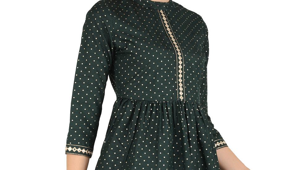 UNFAKENOW  Casual 3/4 Sleeve Polka Foil Print Women Dark Green Cotton  Top