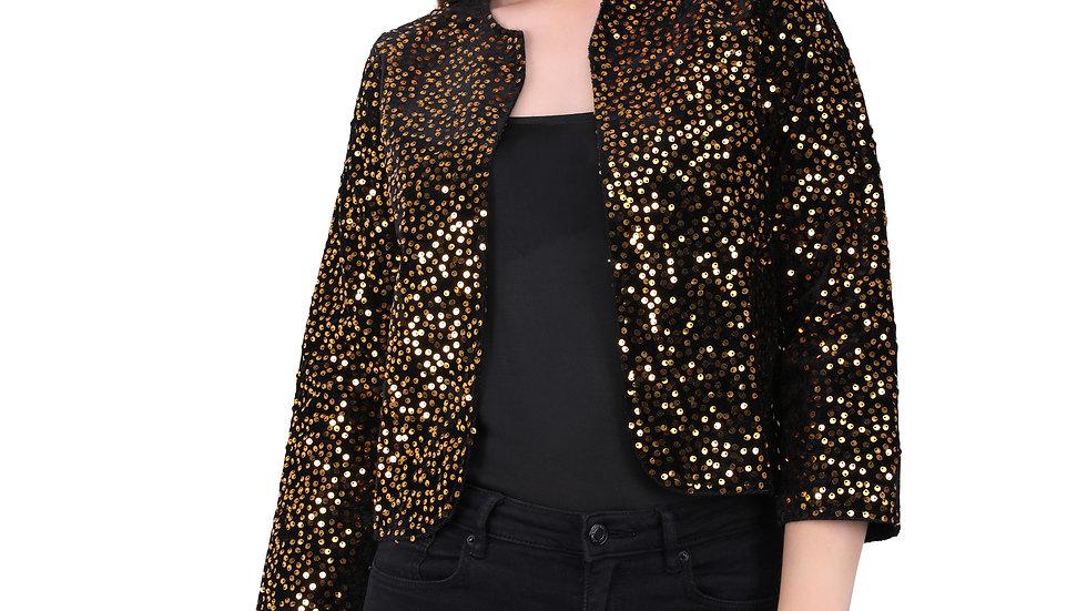 UNFAKENOW  Women Jacket Style 3/4th Sleeve Sequence Embellished Yellow Shrug