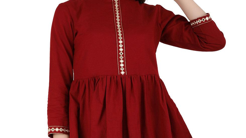 UNFAKENOW  Casual 3/4 Sleeve Solid Women Maroon Top