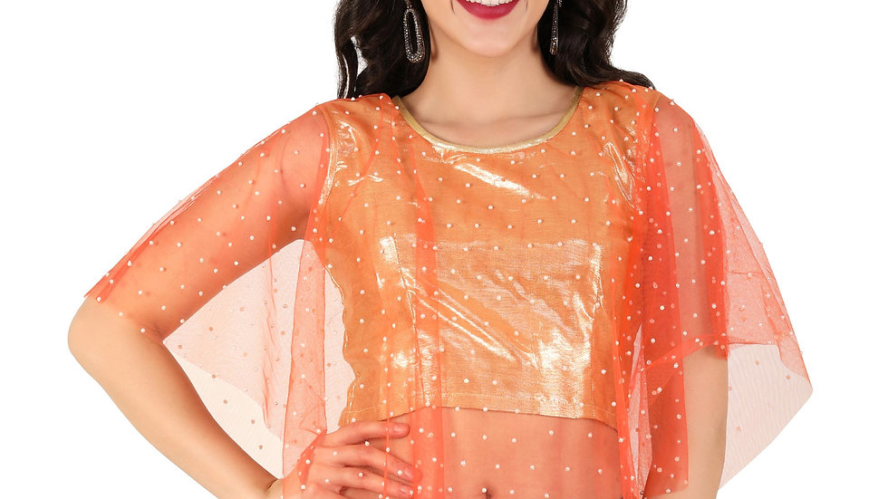 UNFAKENOW  Party Cape Sleeve Printed Women Orange Top