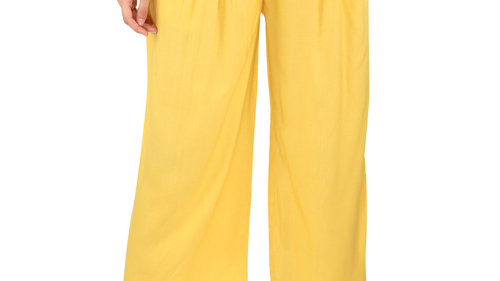 UNFAKENOW  Relaxed Women Yellow Rayon Trousers