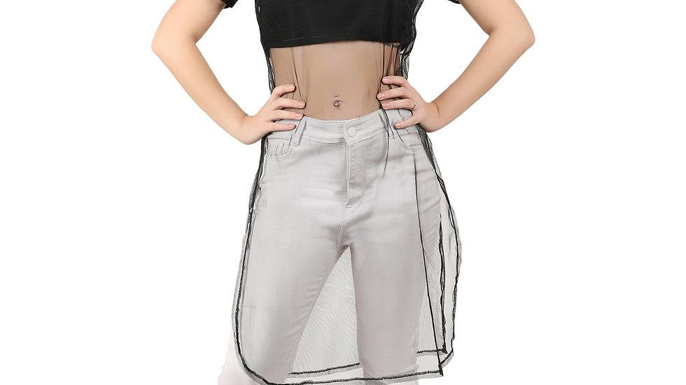 UNFAKENOW  Women Half Sleeve Suit Style Black Net Shrug