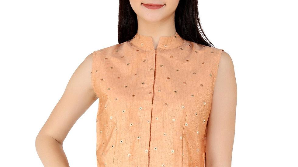 UNFAKENOW  Party No Sleeve Printed Women Orange Top