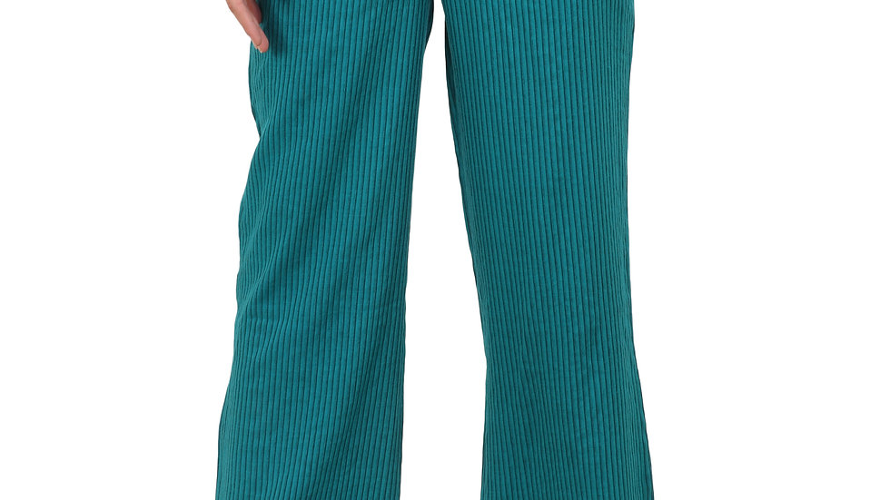 UNFAKENOW  Relaxed Women Blue Cotton Rayon Blend Trousers