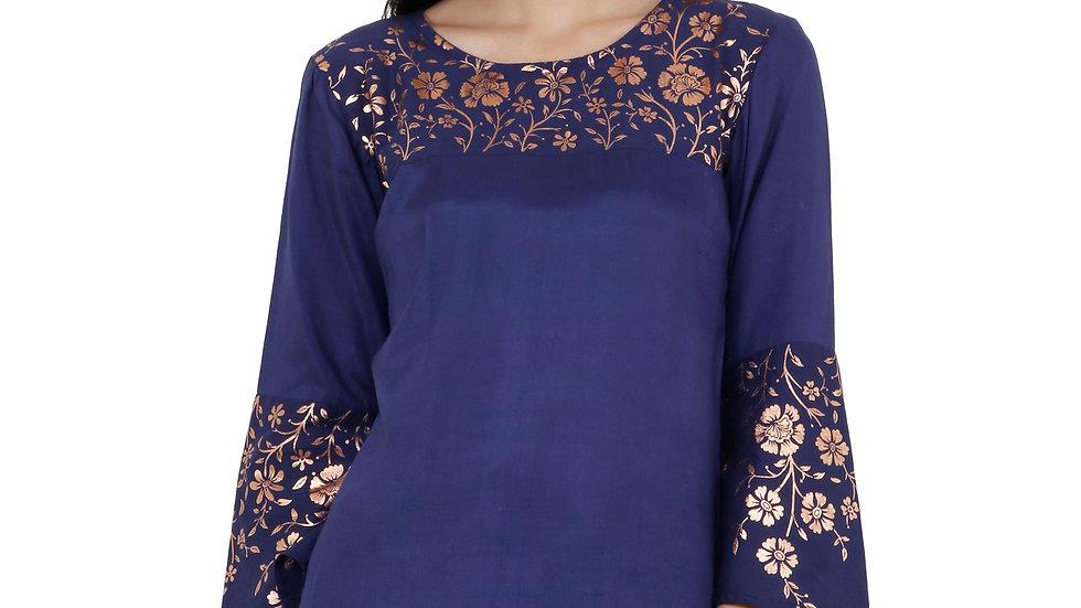 UNFAKENOW  Casual Bell Sleeve Printed Women Blue Top