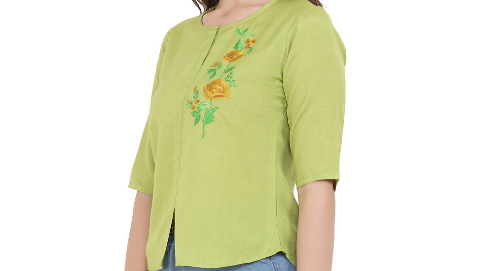UNFAKENOW  Casual Half Sleeve Embroidered Women Light Green Top