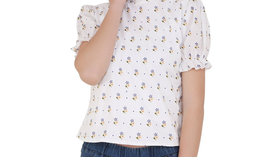 UNFAKENOW  Casual Puff Sleeve Floral Print Women White Top
