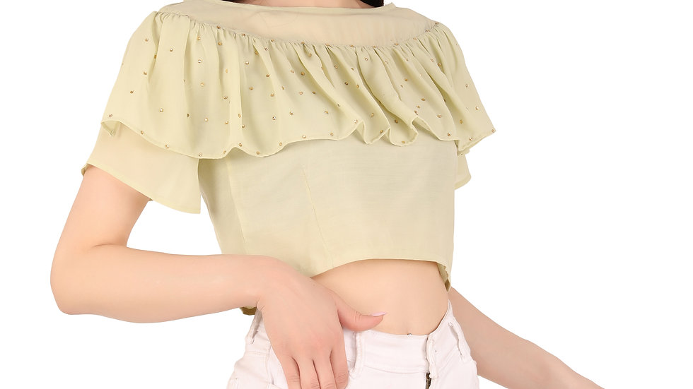 UNFAKENOW  Party Flared Short Sleeve Pearl Embellished Women Light Green Top