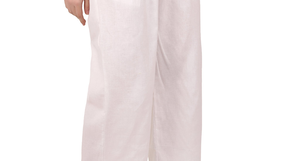 UNFAKENOW  Relaxed Women White Solid Cotton Silk Trousers