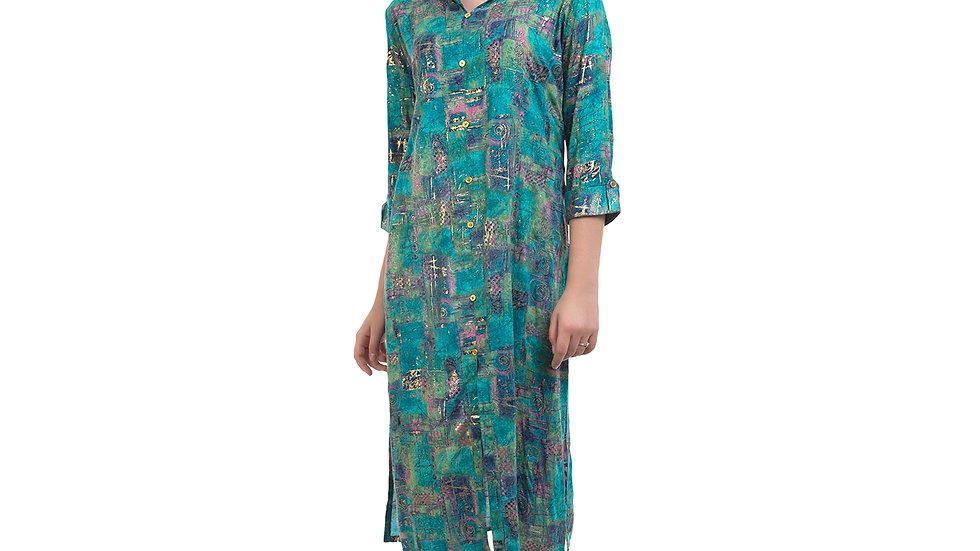 UNFAKENOW  Women Textured Cotton Blend Straight Multicolor Kurta