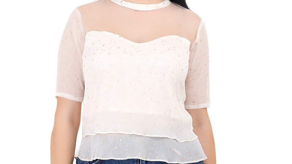 UNFAKENOW  Party Regular Sleeve Printed Women White Top