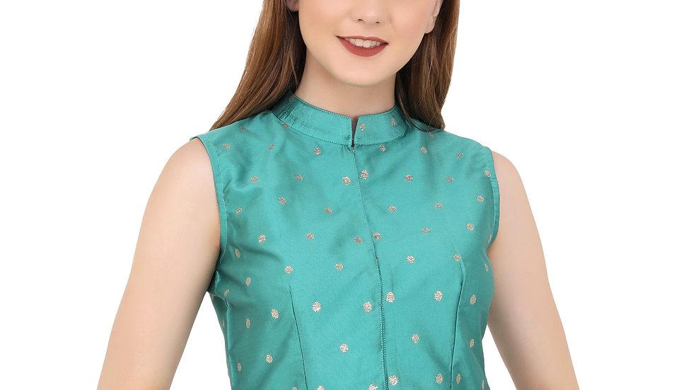 UNFAKENOW  Party Sleeveless Polka Print Women Green Top
