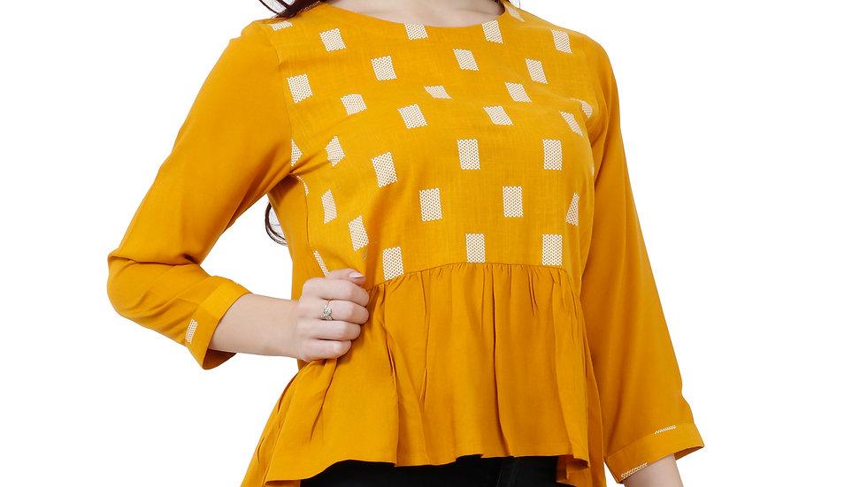 UNFAKENOW  Casual Sleeve Printed Women Yellow Top