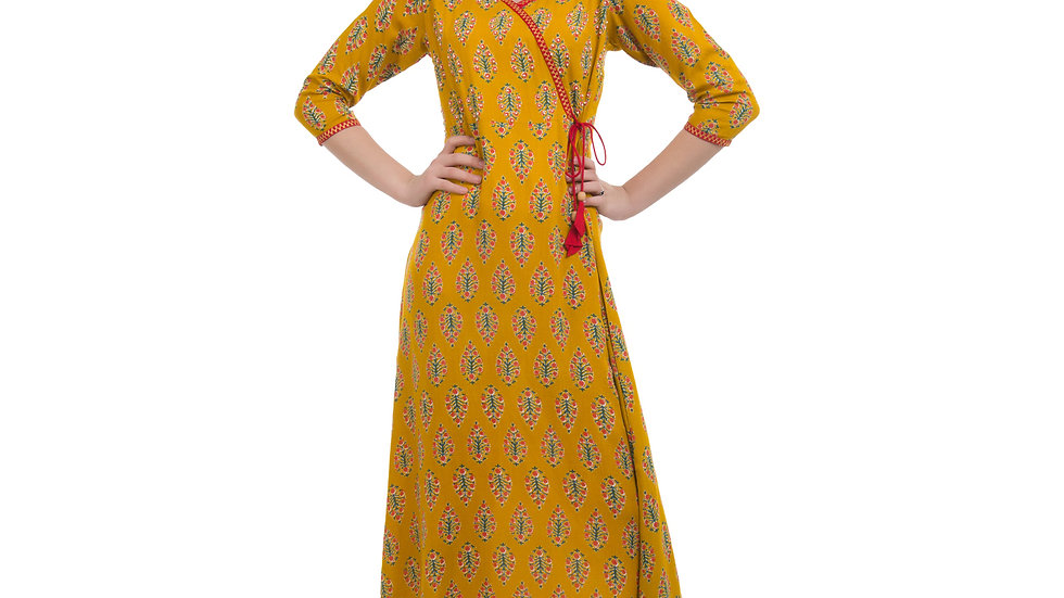 UNFAKENOW  Women Floral Print Cotton Blend Flared Yellow Kurta