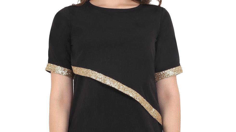 UNFAKENOW  Casual Half Sleeve Embellished Women Black Top