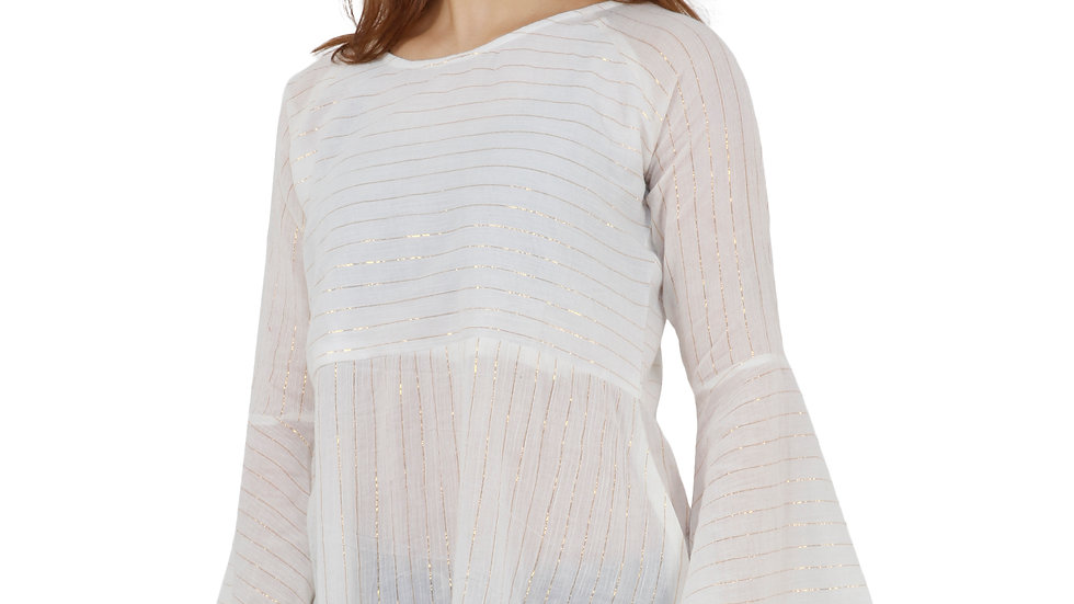 UNFAKENOW  Casual Sleeve Striped Women White Top