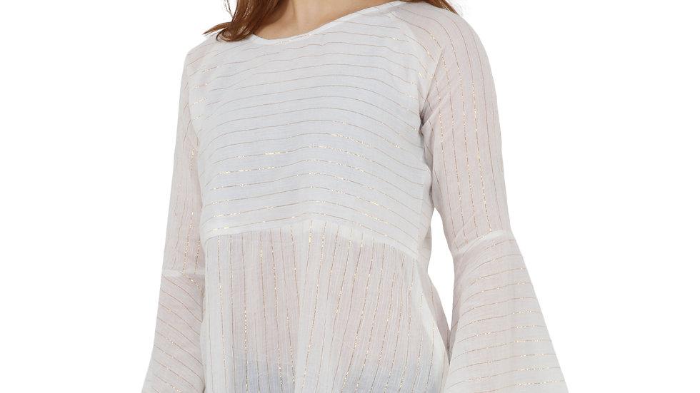 UNFAKENOW  Casual Sleeve Striped Women White Top