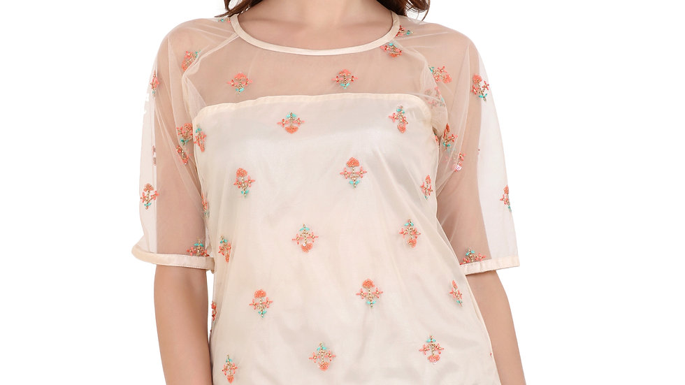 UNFAKENOW  Casual Half Sleeve Embroidered Women Gold Top