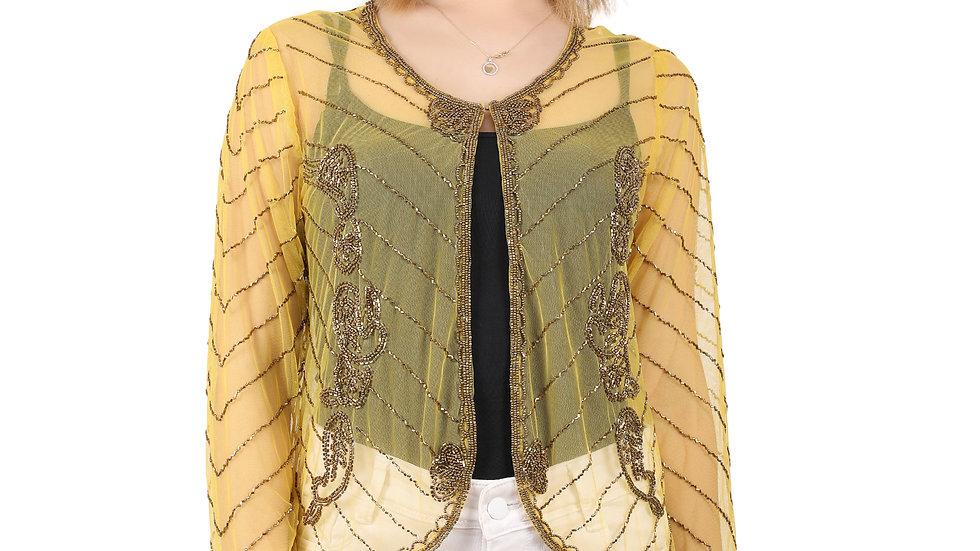 UNFAKENOW Women Bead Embellished Jacket Style Full Sleeve Yellow Shrug
