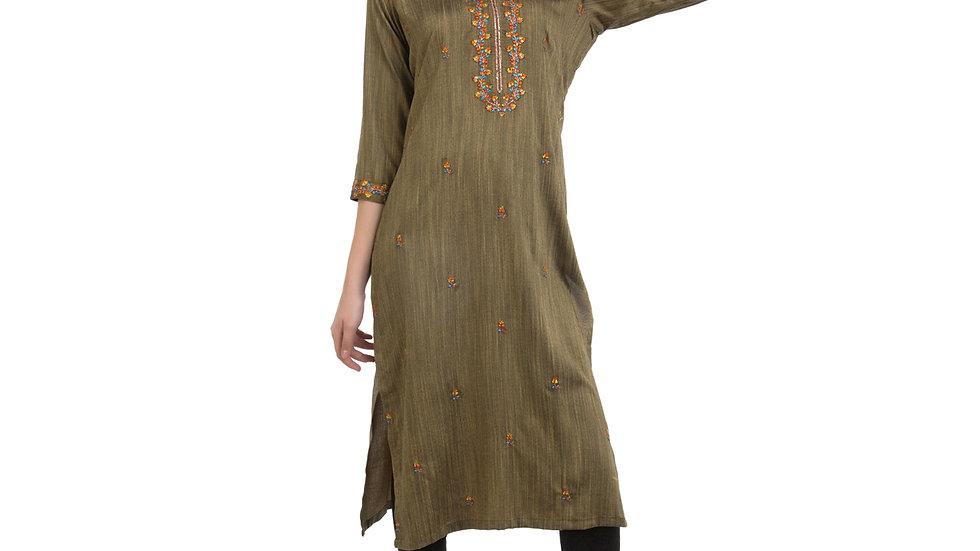 UNFAKENOW  Women Embroidered Cotton Silk Straight Green Kurta