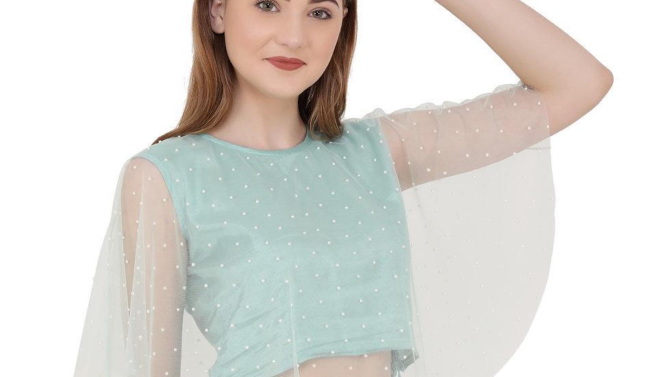 UNFAKENOW  Party Sleeveless Embellished Women Light Blue Top