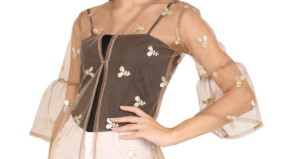 UNFAKENOW  Women Kimono Style 3/4th Sleeve Beige Floral printed Net Shrug