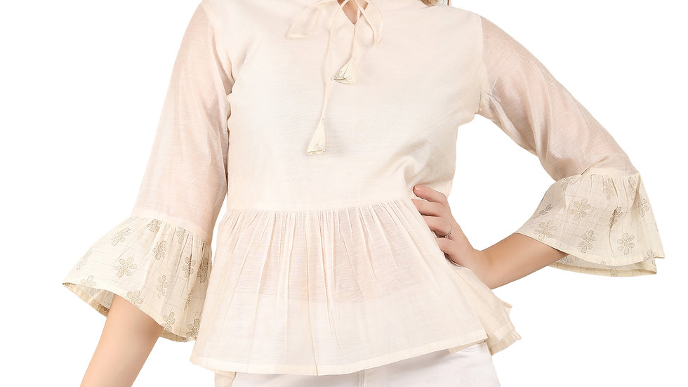 UNFAKENOW Casual Bell Sleeve Solid Women Cotton Blend Peplum White Top