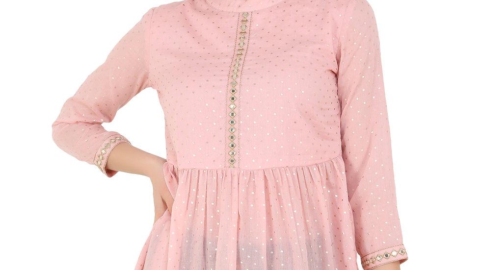 UNFAKENOW  Casual 3/4 Sleeve Polka Print Women Pink Top