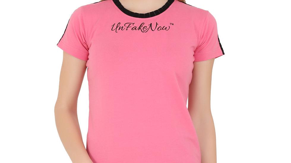 UNFAKENOW  Printed Women Round Neck Pink T-Shirt