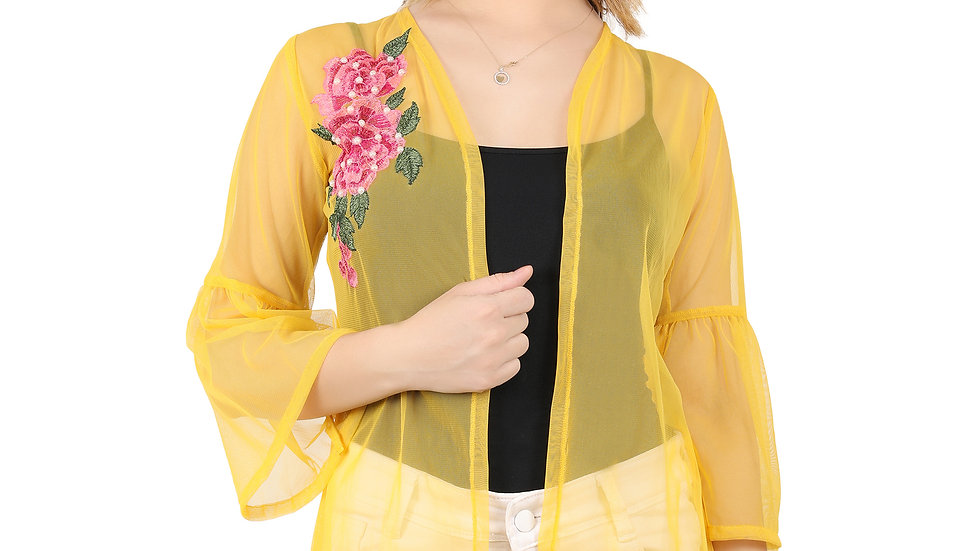 UNFAKENOW Women 3/4th Sleeve Embroidered Yellow Net Shrug