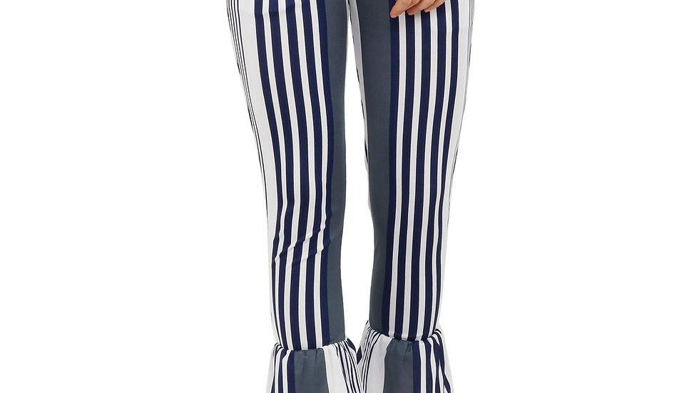 UNFAKENOW  Fitted  Women Striped Grey Cotton Lycra Blend Trouser