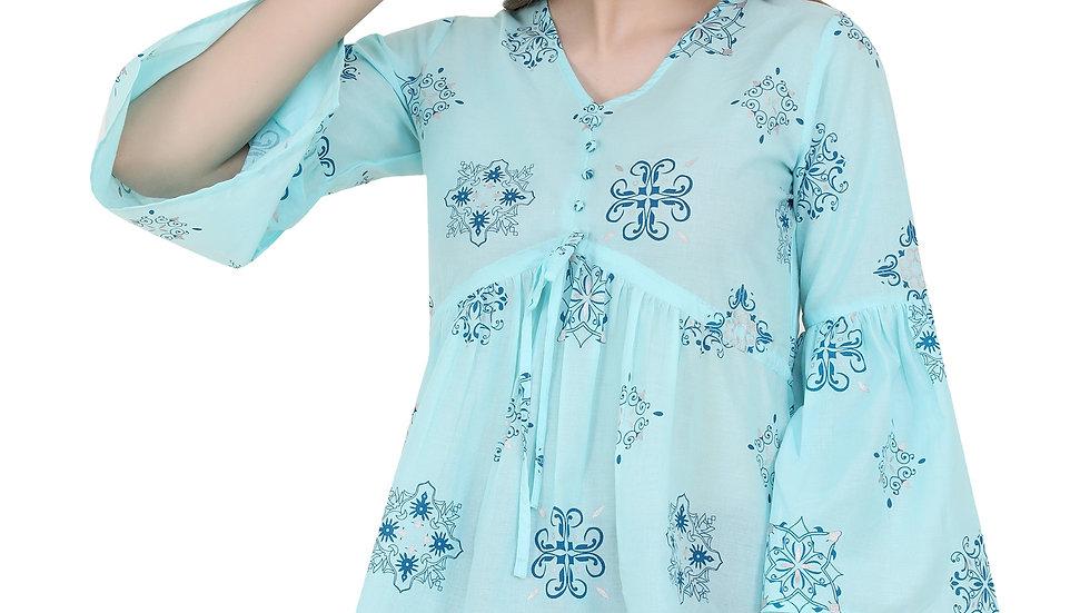 UNFAKENOW  Casual Bell Sleeve Printed Women Light Blue Top