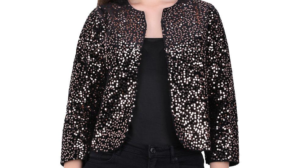 UNFAKENOW  Women Jacket Style 3/4th Sleeve Gold Sequence Embellished Shrug