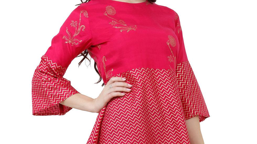 UNFAKENOW  Casual 3/4 Sleeve Printed Women Pink Top