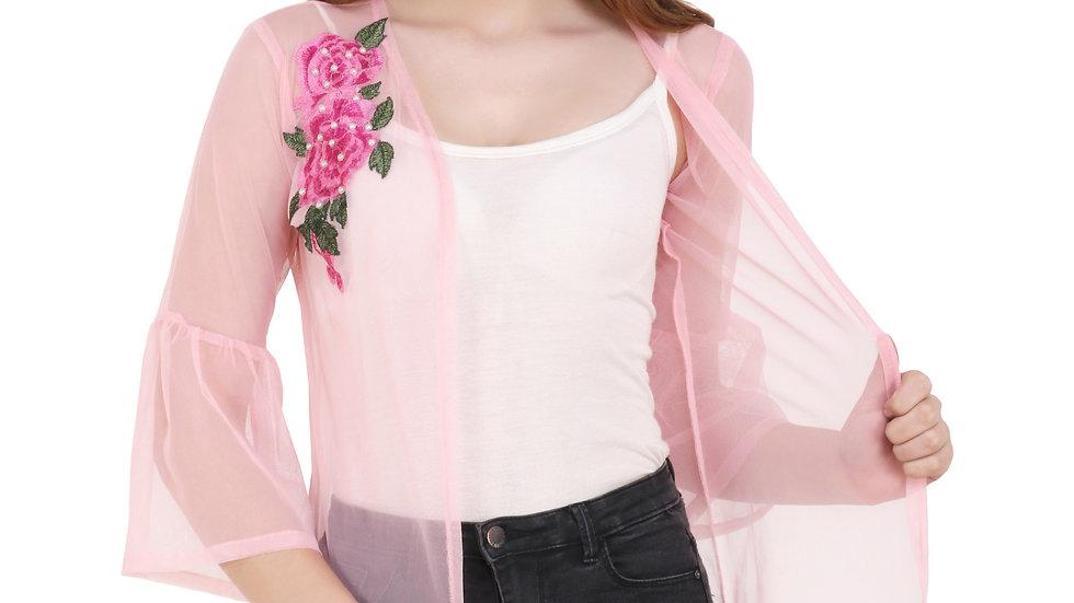 UNFAKENOW  Women 3/4th Sleeve Pink Shrug